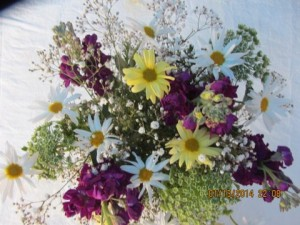 Yellow, white, pink flowers bouquet